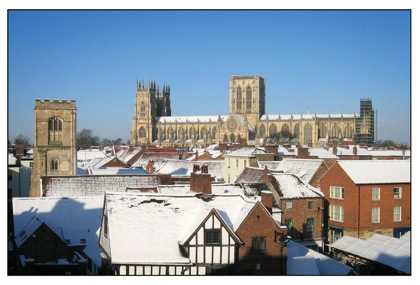 York Minster with snow
