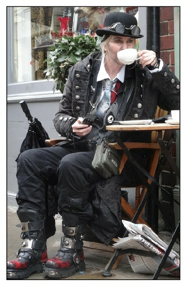 Goth drinking tea at Whitby