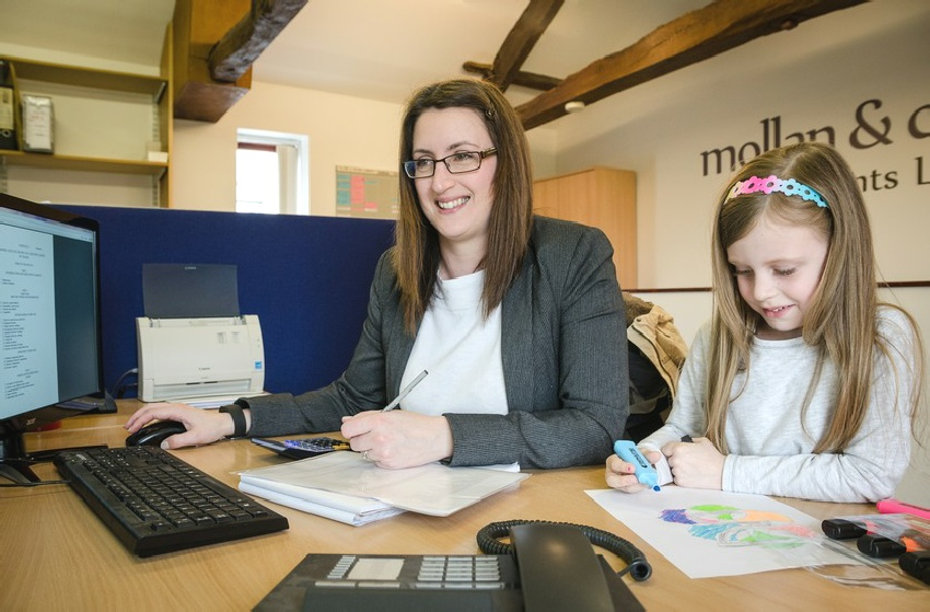 Female employee with daughter at Molan and Co